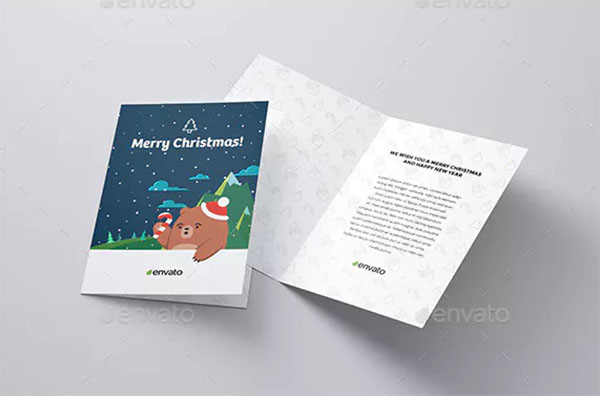 Merry Christmas Invitation and Greeting Card Mock-Up