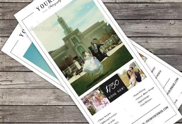 Minimal Wedding Photography Rack Card Template