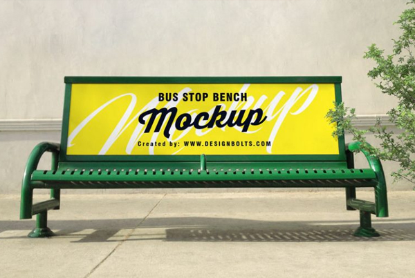 Outdoor Advertising Bus Stop Bench Free PSD Mockup