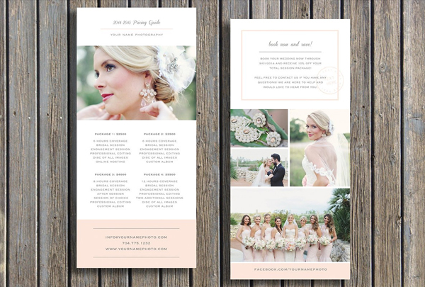 Photographer Pricing Guide Rack Card Template