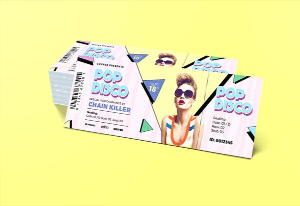 Pop Disco Music Event Ticket