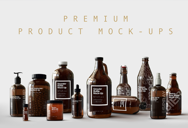 Premium Amber Dropper Bottle Mock-Up