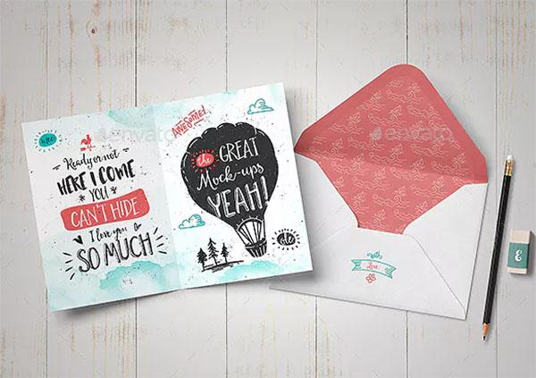 Print ready Invitation & Greeting Card Mock-Up