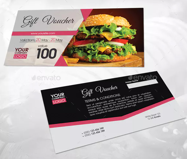 Printable Fast Food Gift Voucher Template