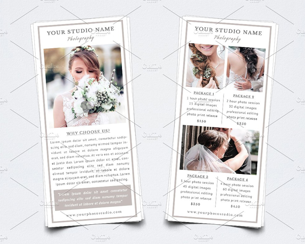 Professional Wedding Photography Rack Card Template