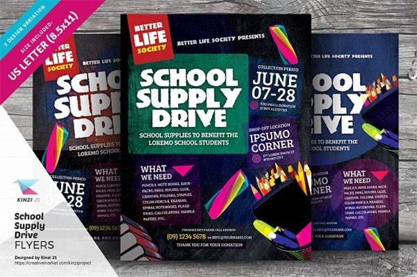 School Supply Drive Flyer Templates