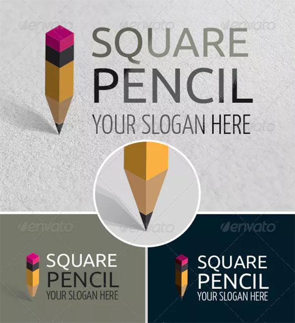 Square Pencil Art School Logo Template