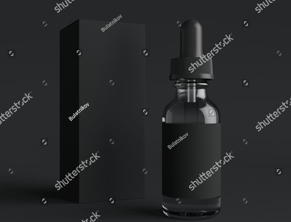 Vape Liquid Bottle with Label and Box Mockup