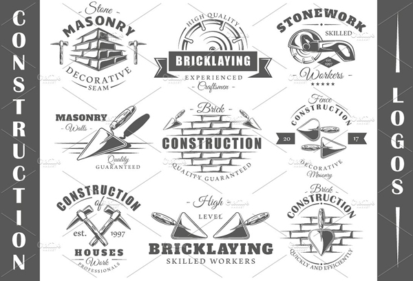 Vintage Construction Logos Templates