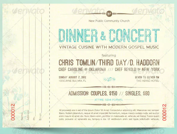 Vintage Dinner Concert Ticket Design