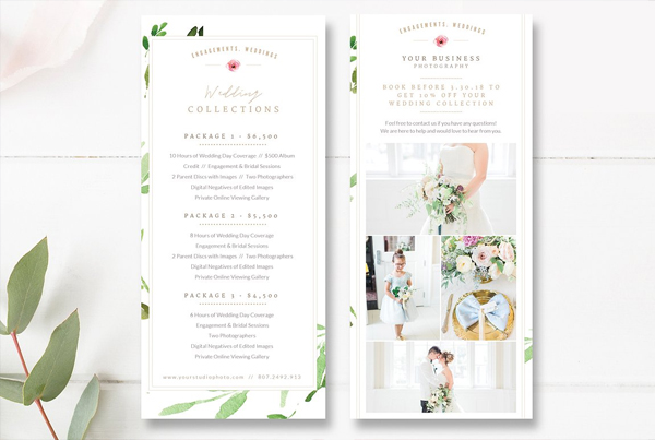 Wedding Photographer Rack Card PSD Template