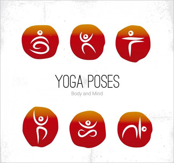 Yoga Poses Icons Free Vector Logos