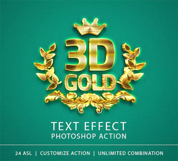 3D Gold Text Effect Photoshop Action