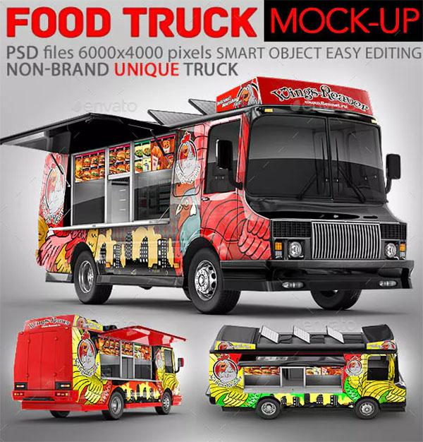 3D Model Food Truck Mock-Up