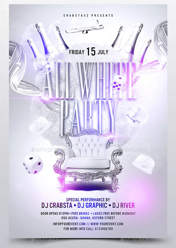 All Crazy White Party Flyer Template