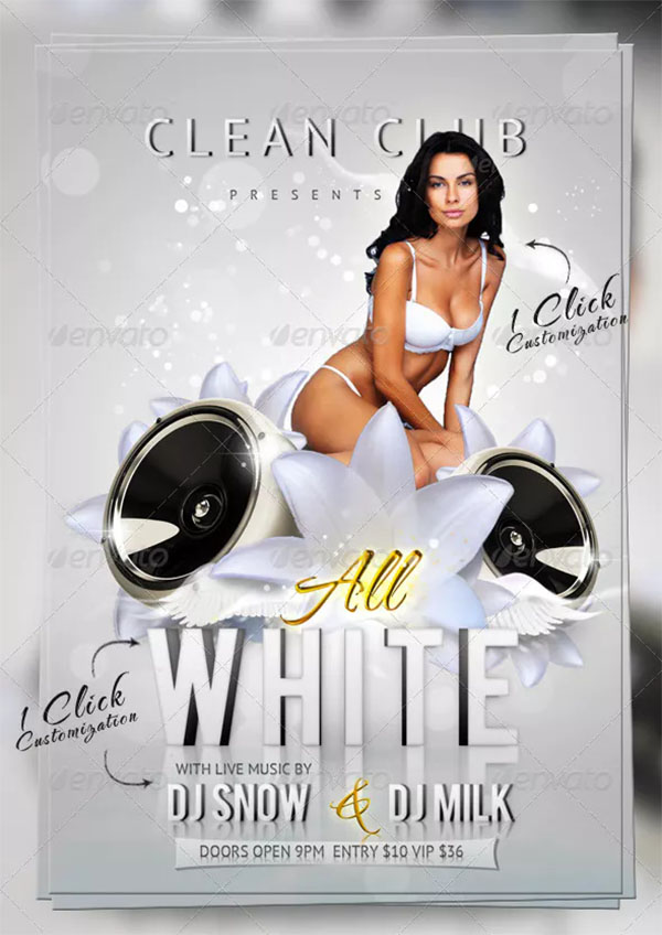 All PSD White Party Flyer Template Design