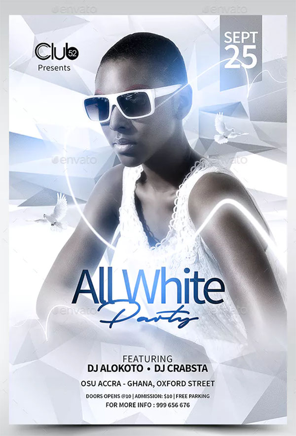 All White Party Beautiful Flyer Template