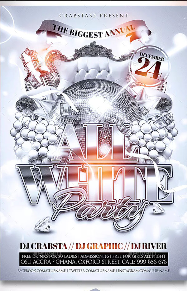 All White Party Deluxe Flyer Template