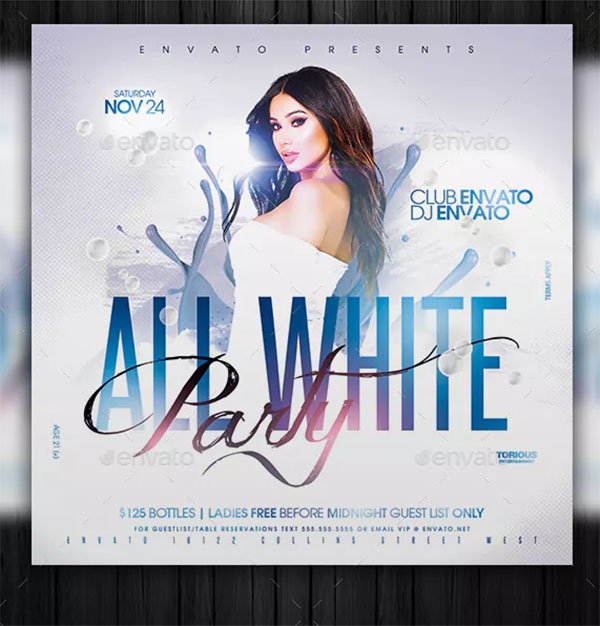 All White Party Flyer Template Design