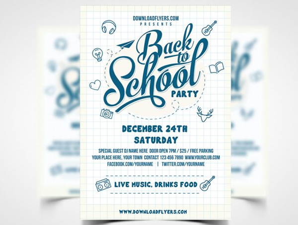 Back to School Party Flyer Free PSD Template