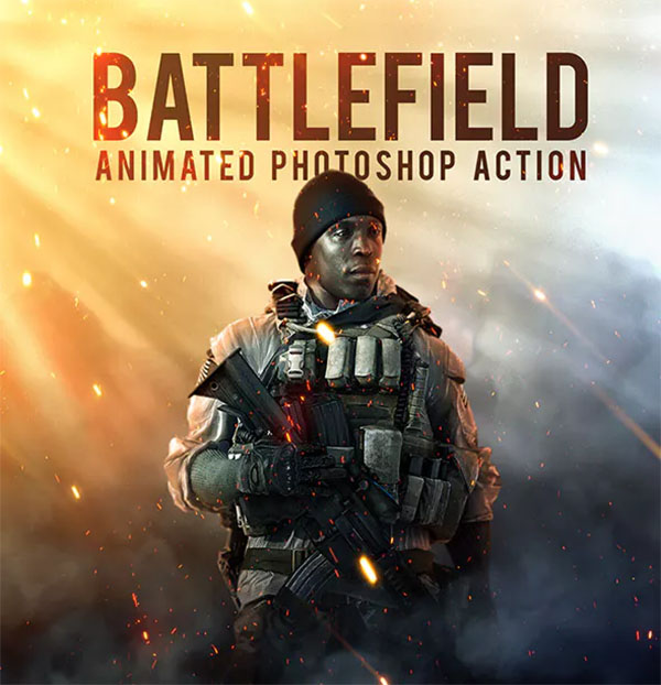 Battlefield Animated Photoshop Action