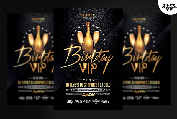 Birthday VIP Party Luxury Flyer Template