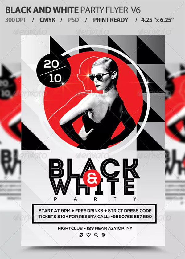 Black And White Party Flyer PSD Templates