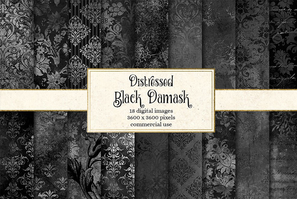 Black Distressed Damask Textures