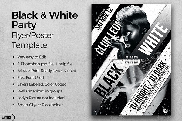 Black and White PSD Party Flyer Template
