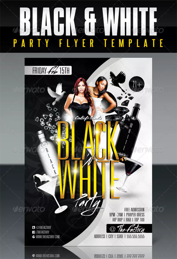 Black and White Party Flyer PSD Template