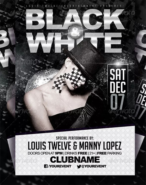 Black and White Party Flyer Template Design