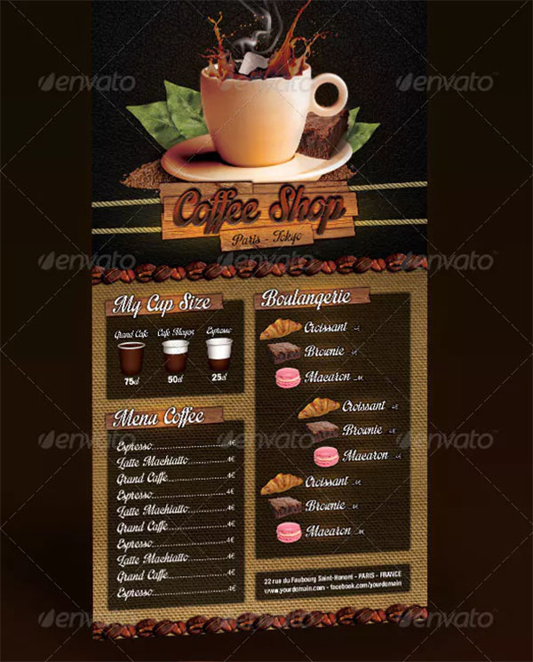 Coffee Shop Menu Design Template
