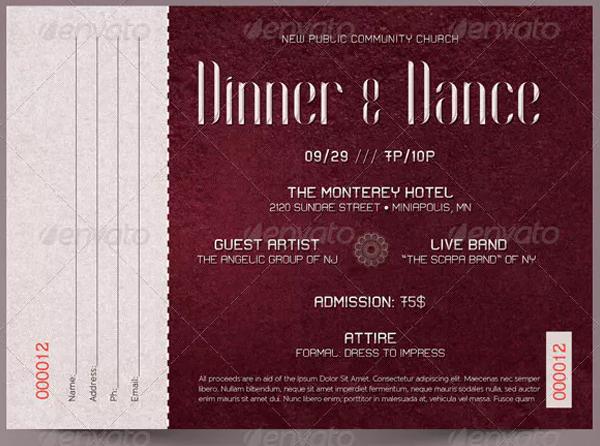 Dinner Dance Ticket Template