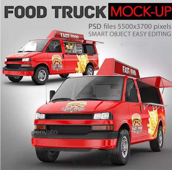 Food Truck Minibus Eatery Mockup