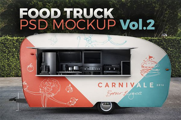 Food Truck PSD Mockup Design
