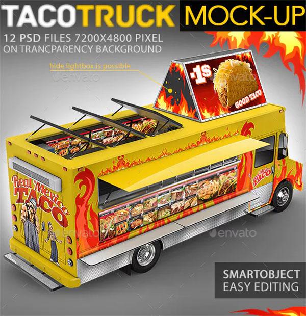 Food Truck, Taco Truck, Step Van Mockup
