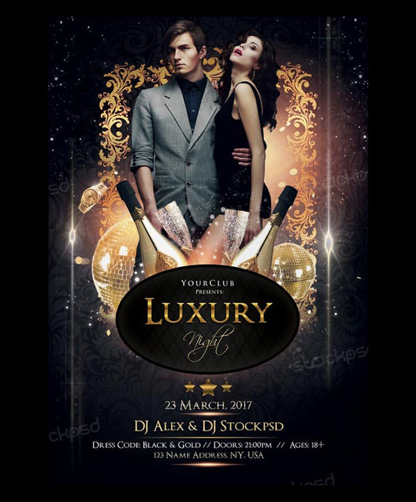 Free Luxury Nights Party Flyer Template