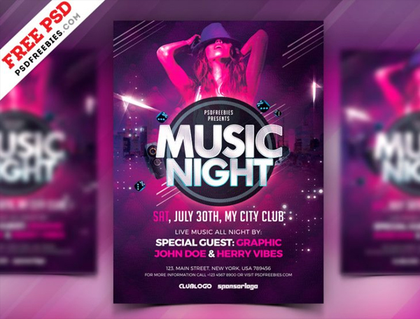 Free Music Night Party Flyer Template