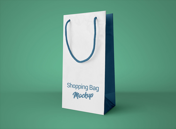 Free Simple Paper Shopping Bag Mockup