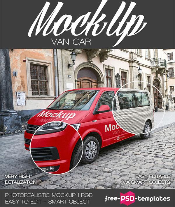 Free Van CAR Mockup in PSD