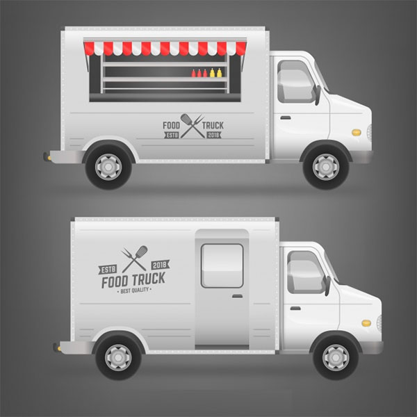 Free White Food Truck Design