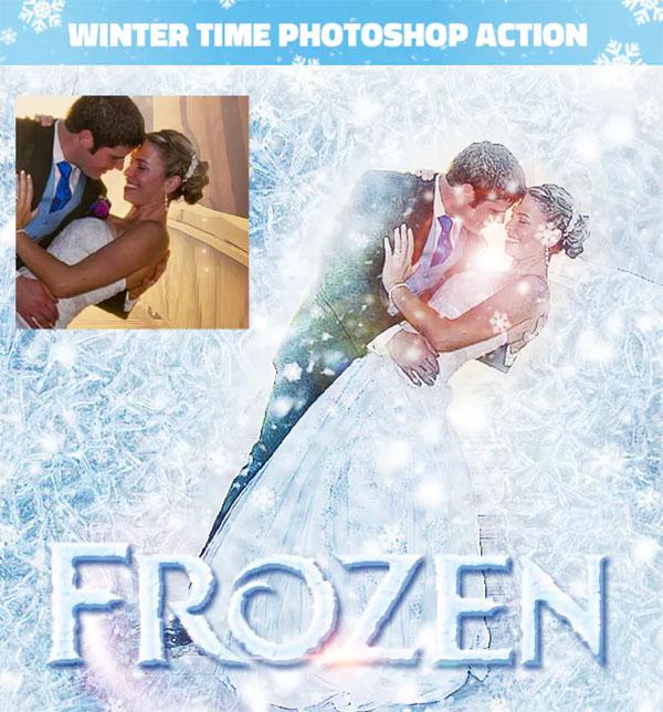Frozen Winter Photo Effect Photoshop Action