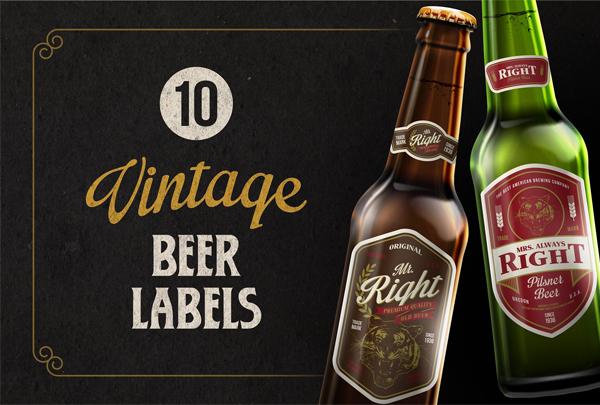 Fully Editable Vintage Beer Labels