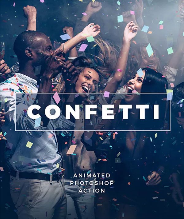 Gif Animated Confetti and Photoshop Action