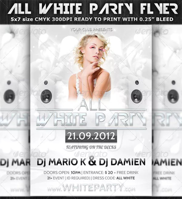 Glamorous White Party Flyer Template