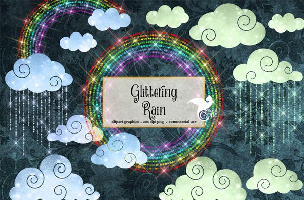 Glittering Rain and Rainbows Clipart Overlays