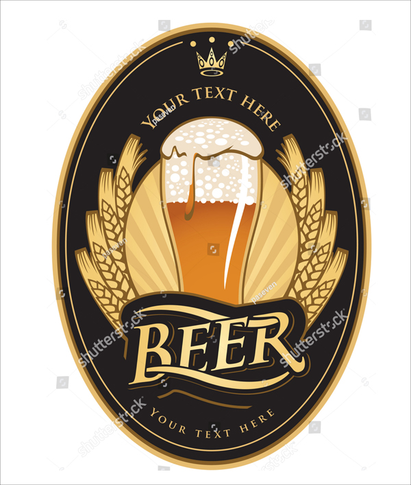 Gold Color Vector Beer Label Template