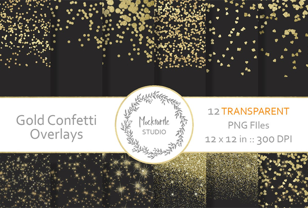 Gold Confetti Digital Overlays