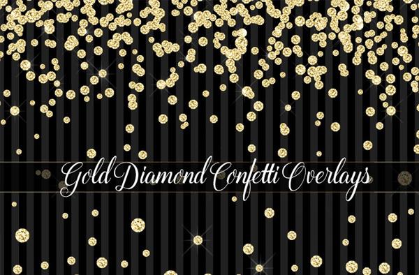 Gold Diamond Confetti Overlays