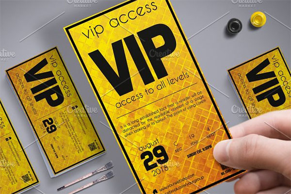 Golden Style VIP Pass Card Template